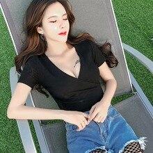 6e1d2e4896 Venta caliente del verano moda mujer corto manga corta cuello en V Sexy  camisas Tops Clubwear negro blanco azul Mujer top