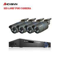 AHCVBIVN P2P 1080P Full HD 4CH POE NVR 24 IR Day Night Outdoor Waterproof FTP Security