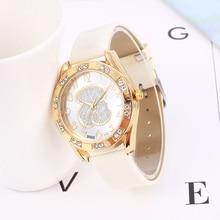 Luxury Crystal Quartz Watch Bear Fashion Womens Dress Women Casual Leather Belt Wristwatch