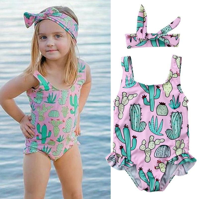 Kids Baby Girls Ice Cream Printed Swimsuit One Piece Swimwear Bikini Top Skirt Bottom Beach Wear Bathing Suit Outfit
