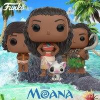 Funko pop Oficial de Filmes: Moana-Moana & PUA, jovem Moana, MAUI Vinyl Collectible Figure Toy Modelo com Caixa Original
