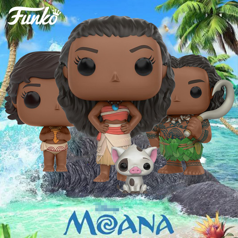 Funko pop Official Movies: Moana - Moana & PUA, Young Moana, MAUI Vinyl Figure Collectible Model Toy with Original Box funko pop official movies moana maui pvc action figure toys 2017 new 100% original pop toy for children baby gift comes with box