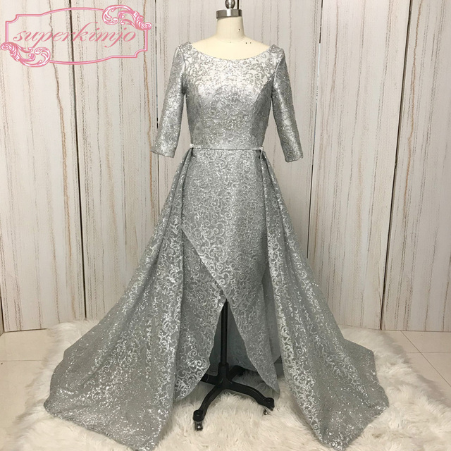 sliver prom dress scoop neckline detachable skirt a line court train  Glitter Glued long evening dress 2018 vestidos de fiesta a4b0f96ca96b