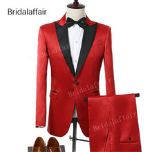 Wedding Tuxedos Blazer Suits-Set Pants Groom Peak Party Summer 2pieces Red KUSON Satin