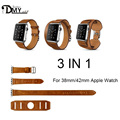 4 color Cuff/Single/Double Tour wraps for apple watch band extra-long high quality genuine Vintage Leather loop 3 types in 1 set
