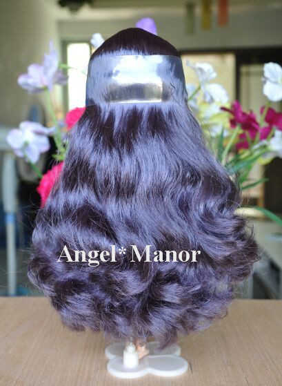 scalp with hair for Blyth, not doll, Dark purle  curly long hair, , For Girl's Gift TP005  ,