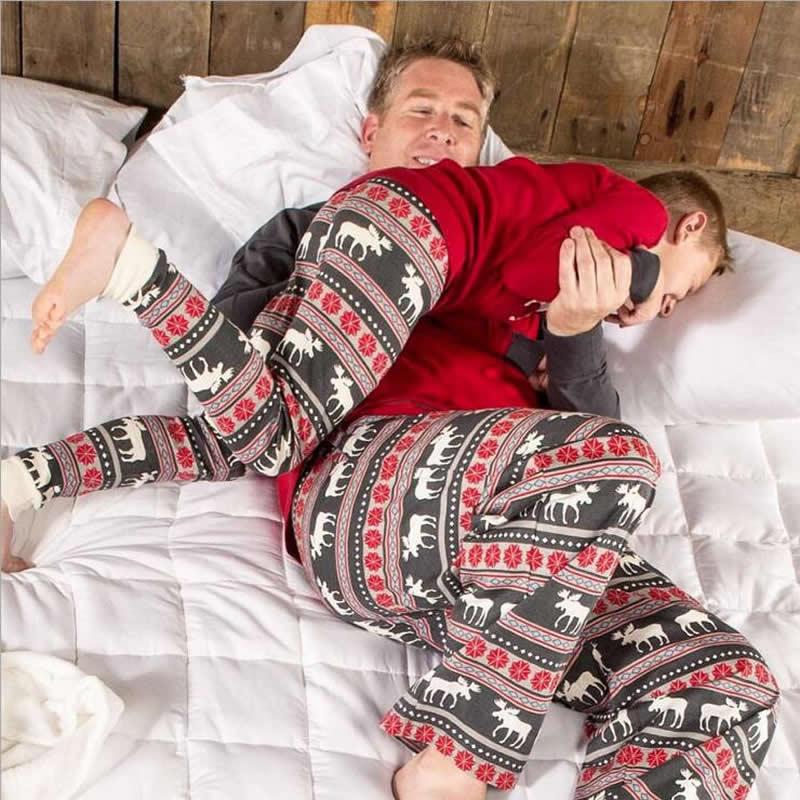 Christmas Cloths Family Matching Christmas Pajamas Set Deer Sleepwear Nightwear Womens Mens Kids Home Clothes