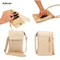 Juocan Fashion Good PU Leather Knit Cell Phone Pouch For Samsang S8 Note5 With Long Adjustable