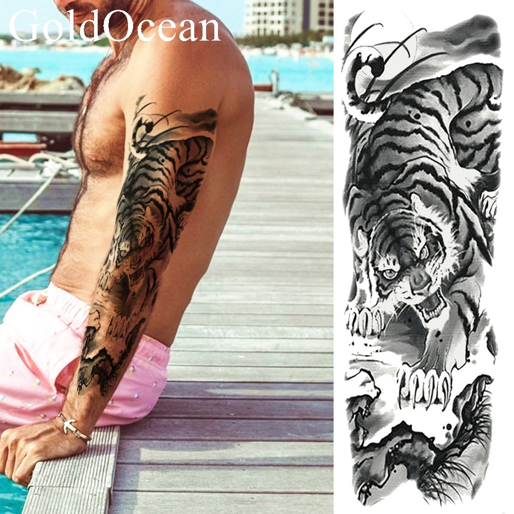 Fiercely Tiger Mountain Temporary Tattoo Stickers Men Full Arm Fake Tatoo Women Black Arm Waterproof Tattoo Big Sleeve Totem