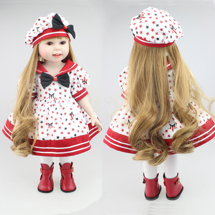 New Year Merry Christmas gift 18 American girl doll with dress cap silicone lifelike baby doll baby toys girl birthday gift christmas costume dress for 18 45cm american girl doll santa dress with hat for alexander doll dress