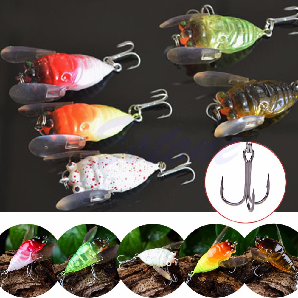 Freshwater fish killers - Fishing Tackle Lure Snakehead Bass Killer Insect Cicada Freshwater 2 Hooks 5cm China Mainland