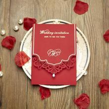 50pcs pack Red Hollow Rhinestones Wedding font b Invitations b font Card Personalized font b Custom