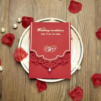 50pcs/pack Red Hollow Rhinestones Wedding Invitations Card Personalized Custom Printable Wedding Event & Party Supplies