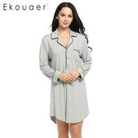 Ekouaer Women Sleepshirt Sexy Nightgowns Turn Down Collar Long Sleeve Polka Dot Solid Lounge Long Sleep Shirt Sleepwear