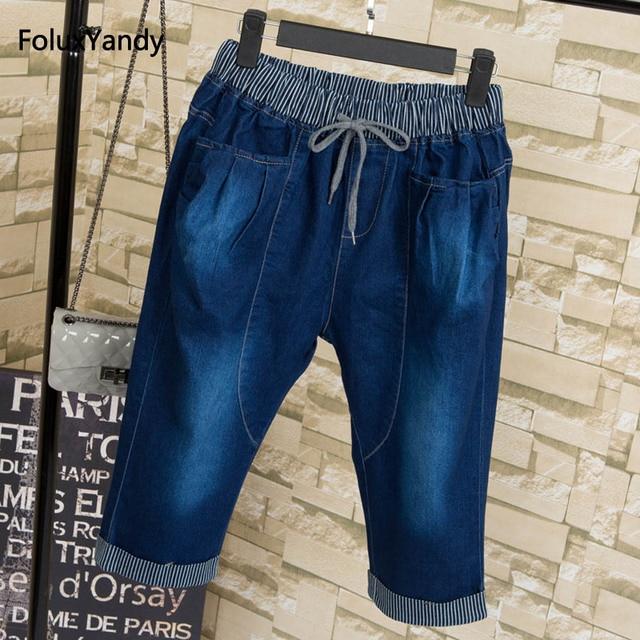 bfc23fd8996 Elastic Waist Jeans Women Denim Capris Plus Size 3 4 XL Casual Calf-length  Loose Pencil Pants Trousers QNS33