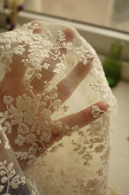 ivory tulle lace fabric, bridal lace fabric, retro floral lace floral lace