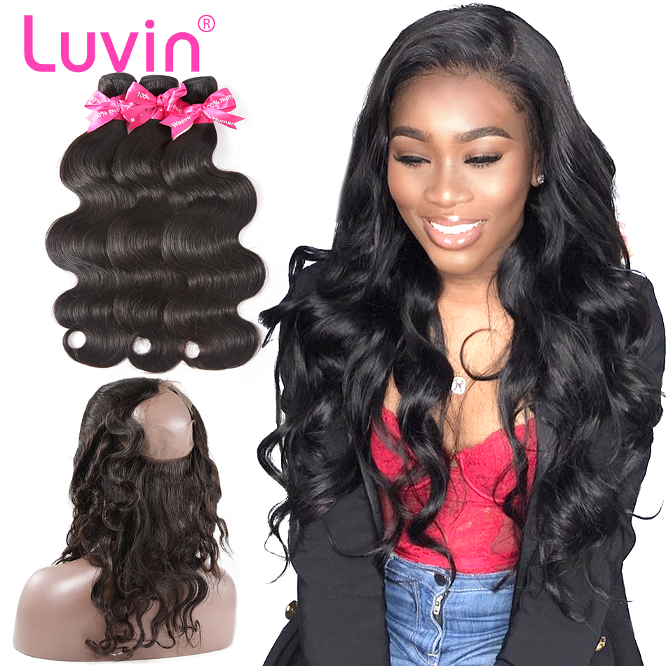 Luvin Hair Human Remy Hair Bundle With Closure Brazilian Hair 3 Bundles With 360 Lace Frontal