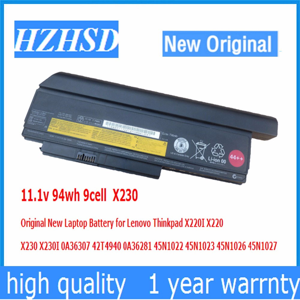11.1v 94wh 9cell X230 Original New Laptop Battery for Lenovo Thinkpad X220I X220 X230I 0A36307 42T4940 0A36281 45N1022 45N1023 original 9cell for lenovo ibm thinkpad x220 x220i x220s 0a36282 0a36283 42t4862 42y4874 42y4868 42t4941 42t4940 42t4942 42y4864