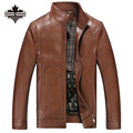 2017 Autumn Winter Thick Men's Pu Leather Coats&Jackets Motorcycle Leather Jacket Male Stand Collar Solid Faux Leather Clothing