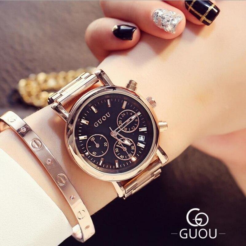 GUOU Top marca de lujo de oro rosa reloj mujeres relojes Auto Fecha de relojes señoras reloj relogio feminino montre femme