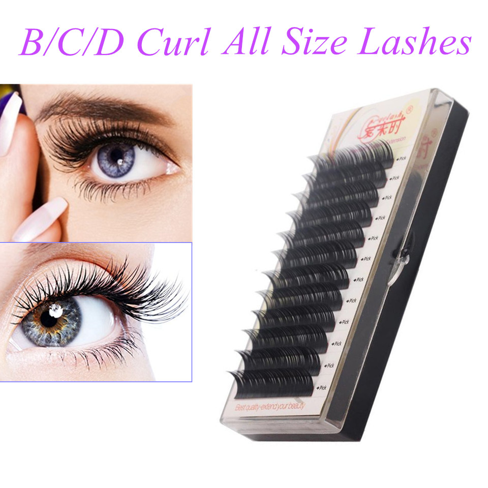 US $2 43 47% OFF|Individual Eyelash Extension All Size Cilia, B/C/D Curl,  All Size 3D Volume False Eye Mink Lashes, Faux Eyelash Extension-in False