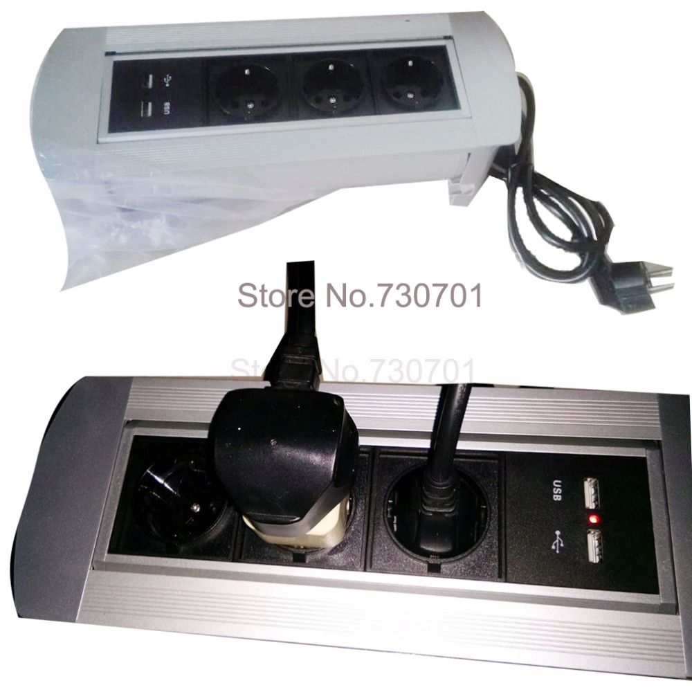 Manual flipping socket with 3 EU power and charge USB 50