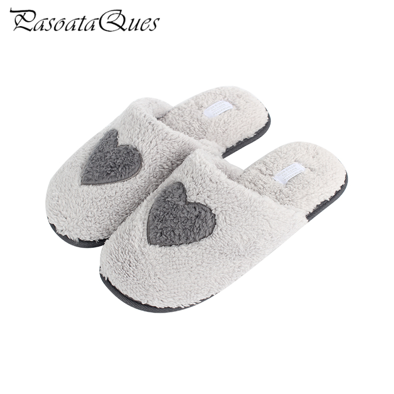 2017 Winter Autumn Gray Plush Non-slip Women Shoes Indoor Hourse Comfortable Love Pattern Home Slippers Pasoataques Brand 157 plush home slippers women winter indoor shoes couple slippers men waterproof home interior non slip warmth month pu leather