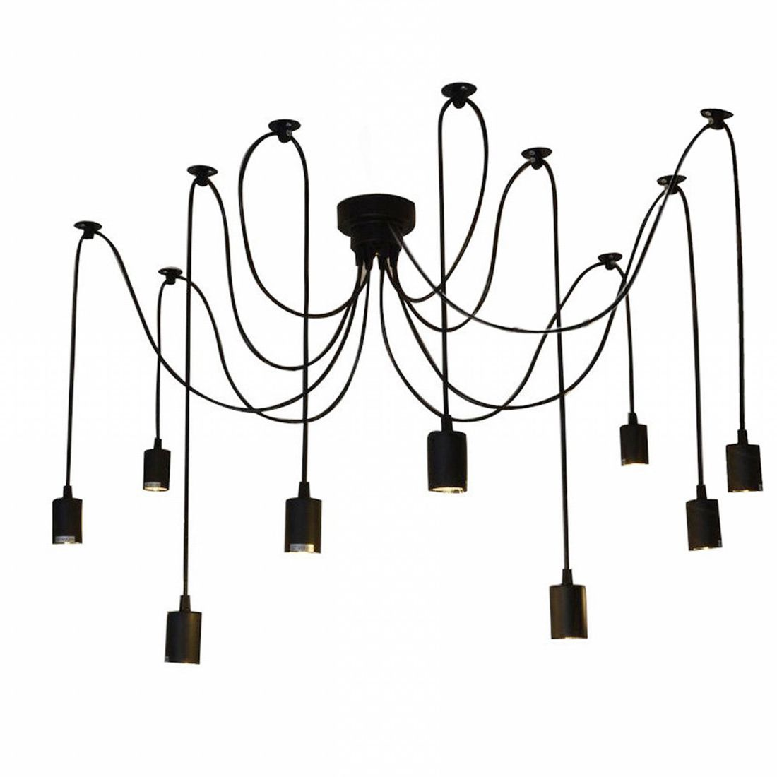 Classic Adjustable 9 Lights E27 DIY Ceiling Spider Pendant Lamp Shade Light Antique Chandelier For Dining Hall 8lights vintage shade multiple adjustable diy ceiling spider lamp pendent lighting chandelier chic easy fit dining light black