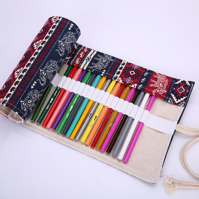 36 48 72 Canvas Roll Up Pencil Case Pencil Holder Women Painting Sketch Makeup Comestic Brush Storage Art Stationery School Pen