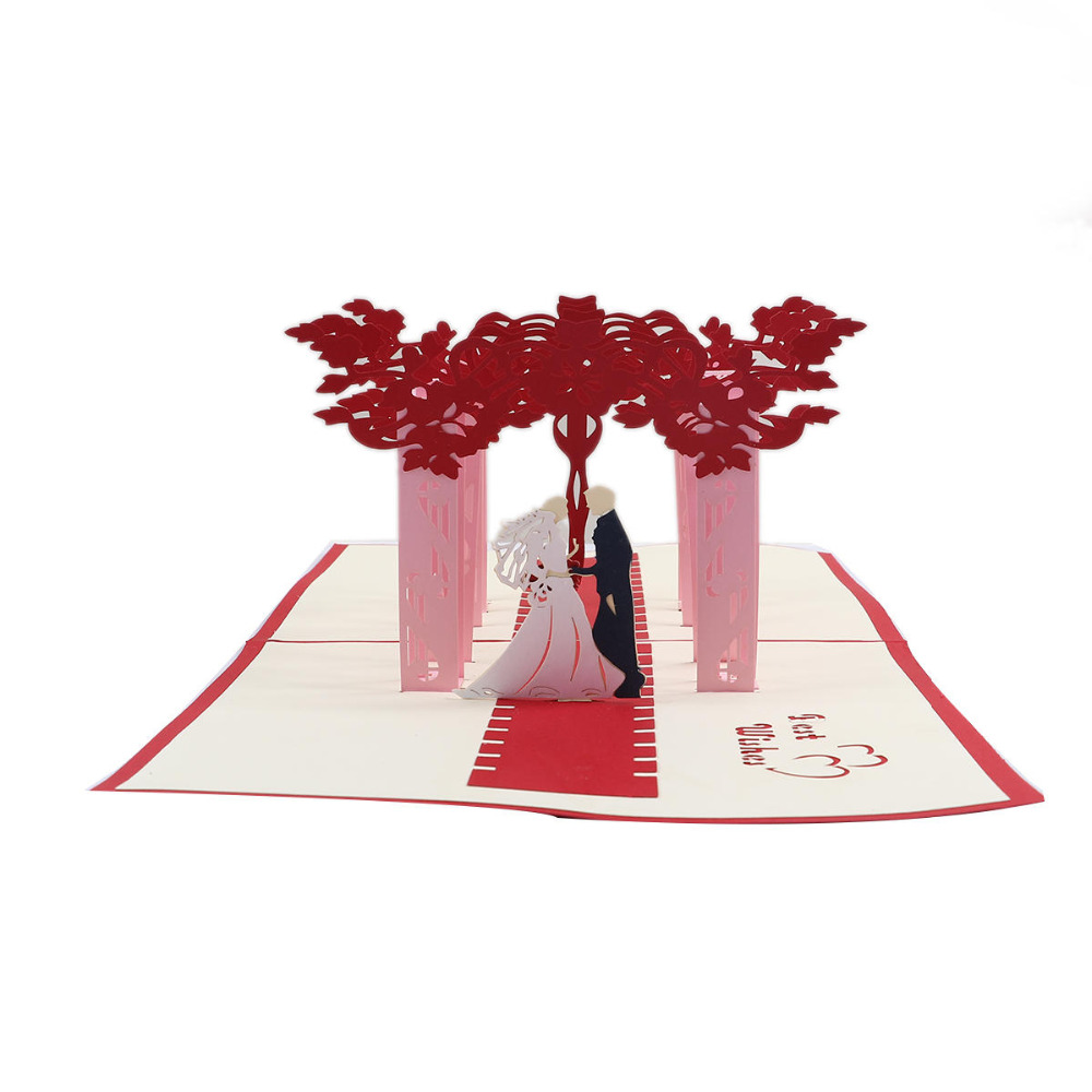 DoreenBeads 2017 New Creative 3D Cards Bride and Groom Pattern Wedding Invitation Card DIY Folding Card for Wedding Party 1PC 1 design laser cut white elegant pattern west cowboy style vintage wedding invitations card kit blank paper printing invitation