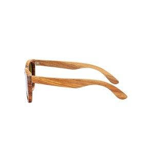 Image 4 - AN whale − lunettes De soleil 100% en bois De zèbre, polarisées, faites à la main, en bambou, monture solaire pour hommes, Gafas Oculos De Sol Mader