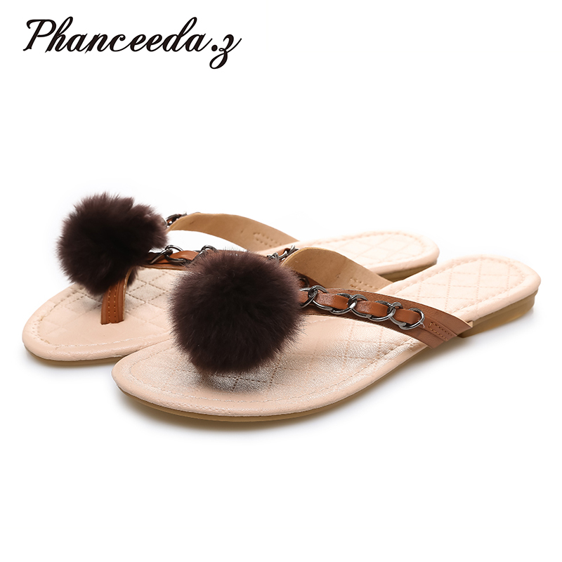 New 2017 Shoes Women Hair ball Sandals Fashion Flip Flops Summer Style Chains Flats Solid Slippers comfortable ladies Sandal