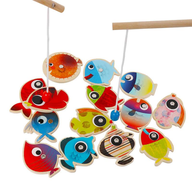 8f2b0cf7438a ... 14 рыб + 2 удочки деревянные детские игрушки рыбы магнитные Pesca  играть рыбалка игра жестяная коробка ...