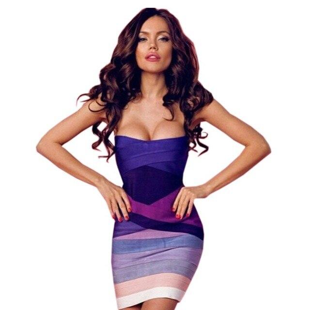 eeb44f2d604 Purple Gradient Strapless 2016 Sexy Women Bodycon Bandage Dress-in ...