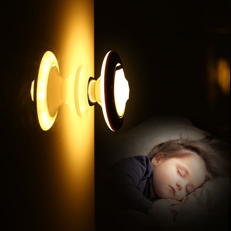 360 Degree Rotary LED Night Light Rechargeable PIR Motion Sensor Wall Closet Lamp @8 JDH99
