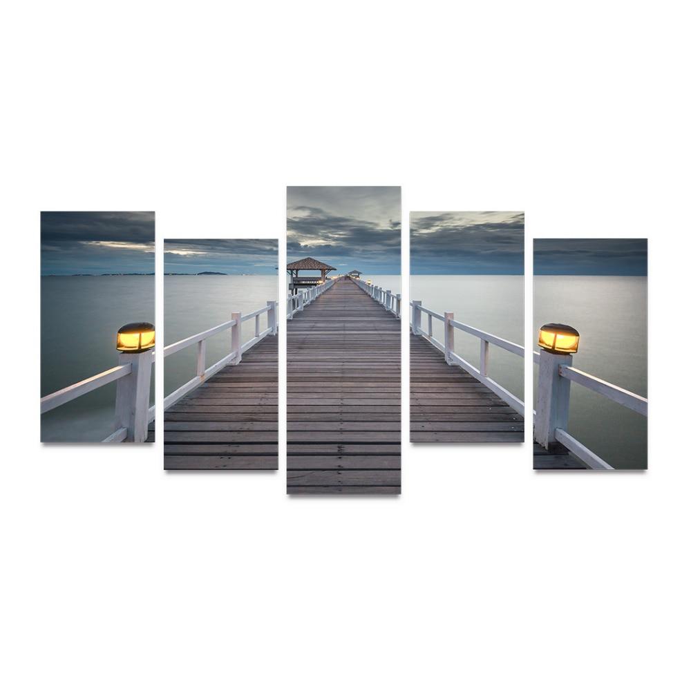 5 Panel Kanvas Cetak Jembatan Untuk Laut Ketika Senja Datang