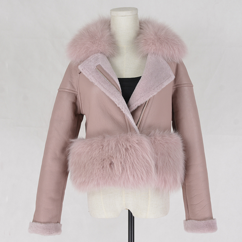 Women/'s Real Fur Coat Sheep Shearing Fur with Stand Collar Winter Overcoat V020