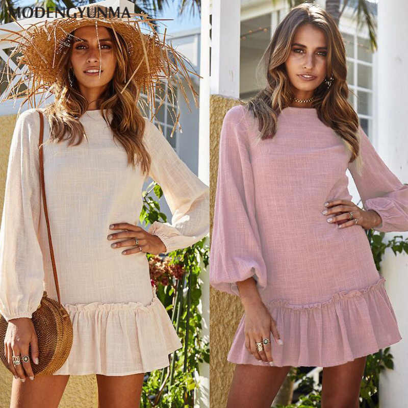 Summer Cotton Dress Women Tunic Round Neck Long Sleeve Pink Mini Dresses Ruffles Casual Vestidos Female Bohemian Ladies' Clothes
