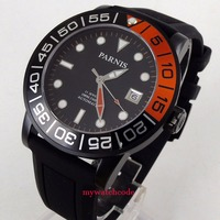 42mm Parnis black dial Sapphire glass PVD case Miyota automatic mens watch P408