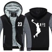 2016 Cool Man Capuz LeBron James Homens Jaqueta Menino Longo SleeveThicken de lã Com Zíper Encabeça Masculino Venda Quente EUA UE tamanho Plus Size