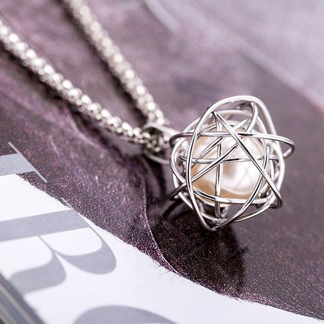 2018 encanto imitación de colgante de perla Collar para mujeres bola geométrica Color dorado largo suéter cadena collar de boda joyería