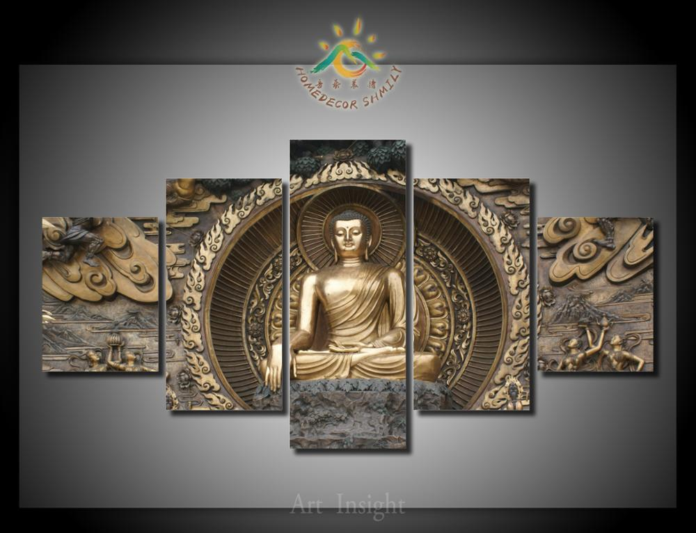 5 pieces set buddha canvas painting hd printed on canvas. Black Bedroom Furniture Sets. Home Design Ideas