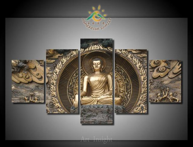Exceptional 5 Pieces/set Buddha Canvas Painting HD Printed On Canvas Painting For Living  Room Wall