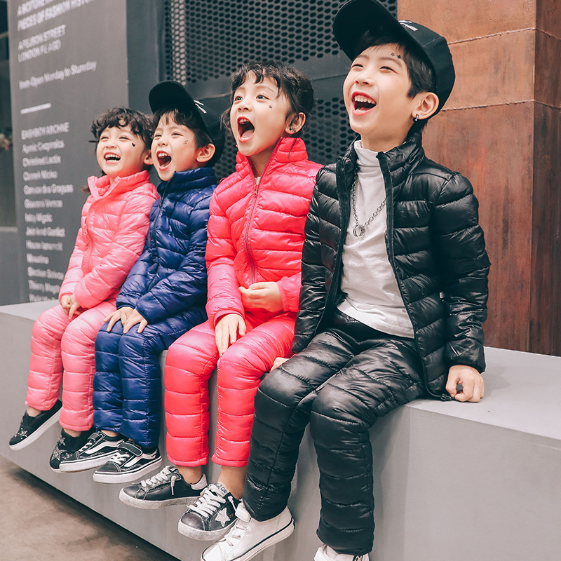 children clothing girls winter jacket down cotton clothes sets baby little boys clothing set winter autumn padded jackets +pants 2016 winter boys ski suit set children s snowsuit for baby girl snow overalls ntural fur down jackets trousers clothing sets