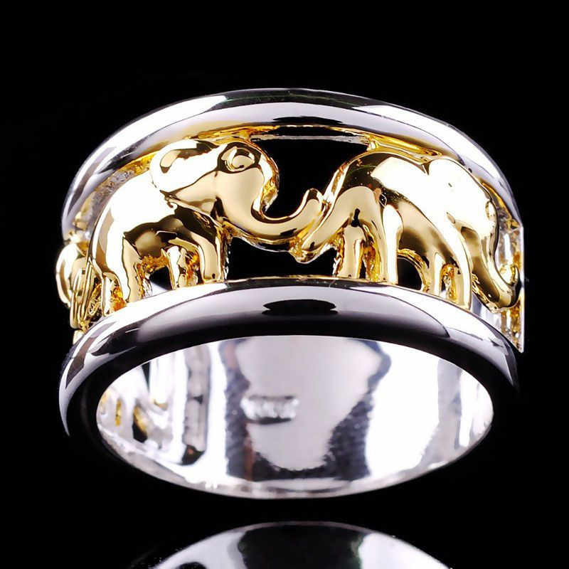 YWOSPX 2019 Bohemian Male Ring Gold and Silver Color Elephant Rings for Men Wedding Anel Engagement Statement Anillos Bijoux