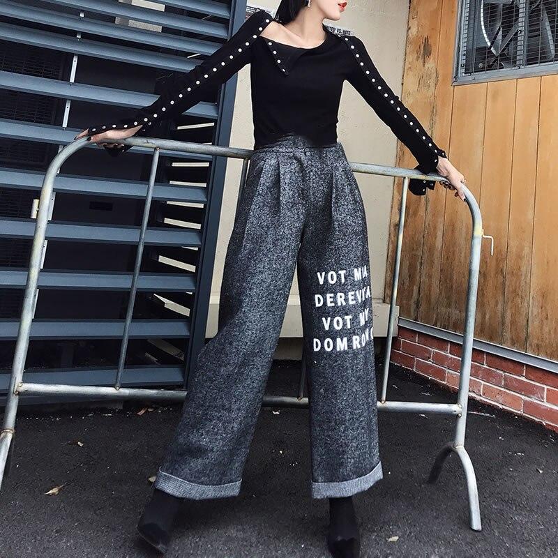 Femelle Fly Été Femmes Mode D'impression Lettre Pantalon Lâche xitao Large See Longueur Printemps Jambe Pleine 2019 Picture Dll1564 Bouton De xnq7Y78w51