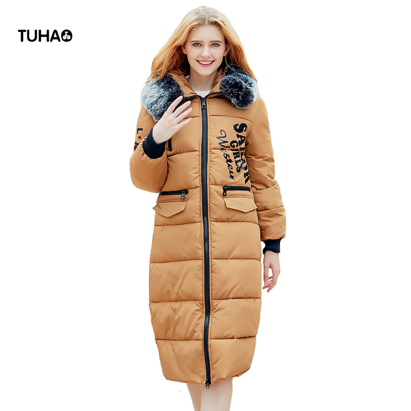 TUHAO Long Thick Parkas Women Winter Coats Faux Fur Trim Hooded Zipper Print Slim Fit Wadding Jackets Manteau Feeme Hiver TRA31 tuhao lady down cotton pure color manteau femme hiver thick warm jackets 2017 new autumn winter women hooded long coats lw20