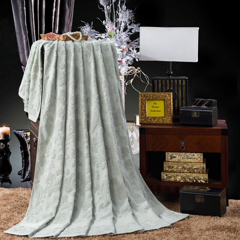 Peluche coton lit couverture solide dobby fleur jeter couverture/couvre-lit reine/double/pleine taille pour le bain/dormir/pique-nique/voyage