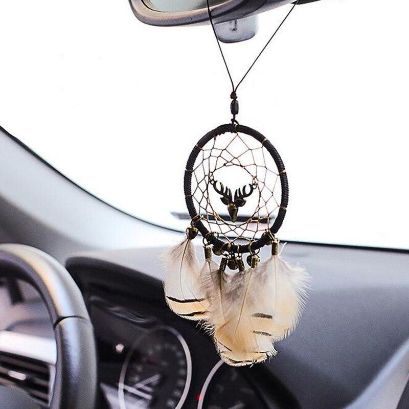 Pingente Handmade Dream Catcher Wind Chimes Espelho Retrovisor do carro Ornamentos Encantos Pena Pendente de Automóvel Carro Pendurado presente