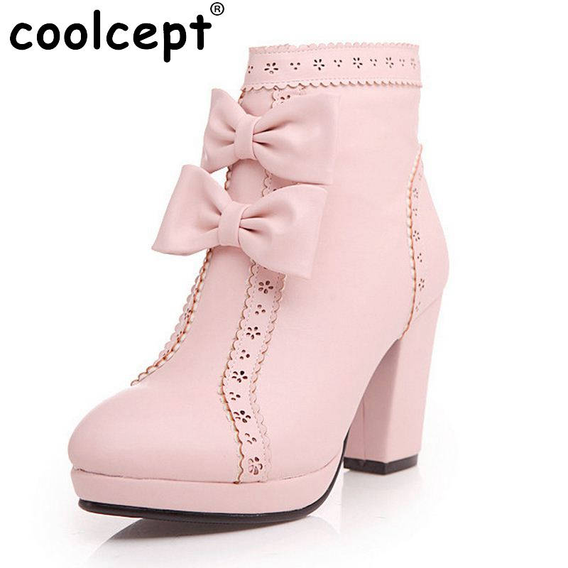 ФОТО New Fashion Women Warm Snow Boots Winter Women Riding Boots Female High Heels Women's Boots Bowknot High Boots Size 33-43